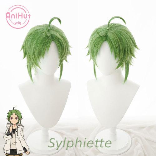 Anihut Sylphiette Greyrat Greyrat Cosplay Wig Mushoku Tensei Green Heat Resistant Synthetic Sylphiette Cosplay Hair Halloween