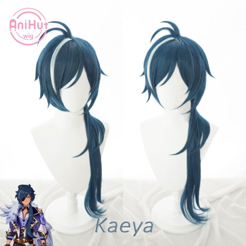 AniHut Kaeya Cosplay Wig Genshin Impact Cosplay Blue Heat Resistant Synthetic Hair Kaeya Halloween Cosplay