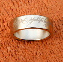 Magnetic Engraved PK Ring - Silver - Letter Pattern (2 Sizes)