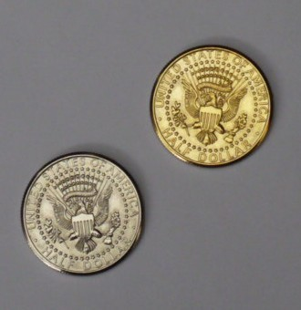 Double Sided Half Dollar (Tails) - Half Gold, Half Silver