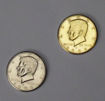 Double Sided Half Dollar (Heads) - Half Gold, Half Silver