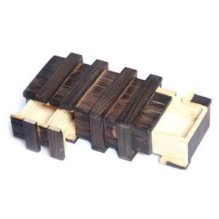 Magic Wooden Puzzle Box w 2 Secret Drawer