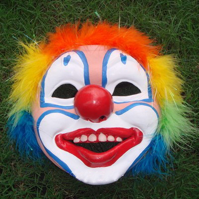 Multicolor Rubber Plumed Clown Mask