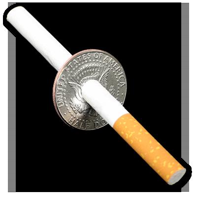 Cigarette thru Half Dollar