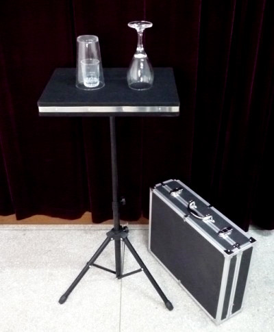 Coin in Glass and Glass Breaking Table w/ Case & Table Base