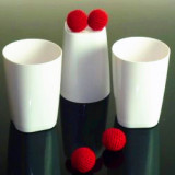 Cups and Balls w/Chop Cup Combo (Porcelain White, Plastic) by 52magic