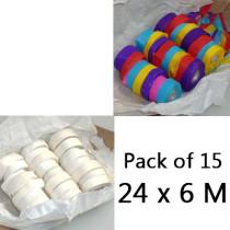 Throw Streamers - 2 Colors, Pack of 15 (24 x 6 Meters)