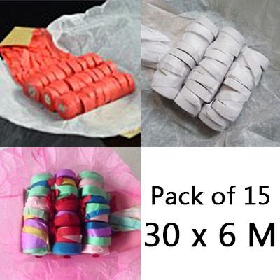 Throw Streamers - 3 Colors, Pack of 15 (30 x 6 Meters)