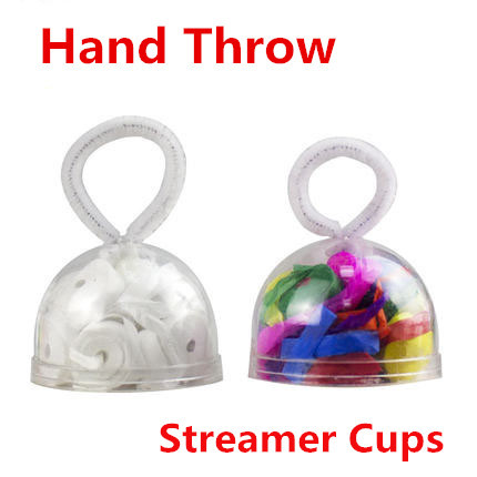 Hand Throw Streamer Cups - White/Multicolor (9 Pieces/Pack)