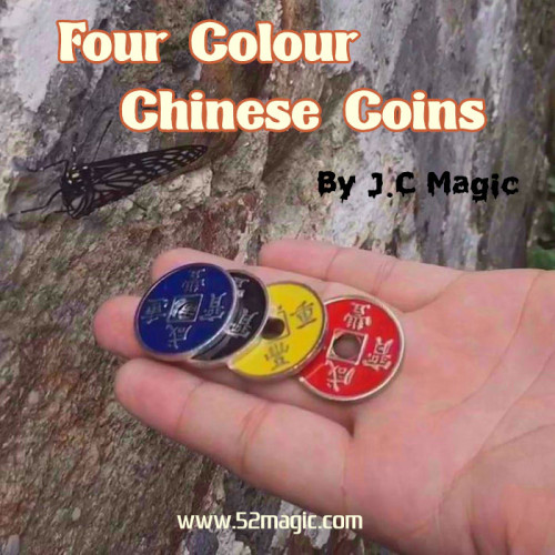 Four Colour Chinese Coins by J.C Magic