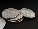 Morgan Dollar Shell and Coin Set (5 Coins + 1 Head Shell + 1 Tail Shell) by Oliver Magic