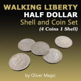 Walking Liberty Half Dollar Shell and Coin Set (4 Coins 1 Shell) by Oliver Magic