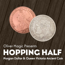 Hopping Half (Morgan Dollar and Queen Victoria Ancient Coin) by Oliver Magic