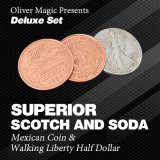 Superior Scotch and Soda (Double Locking, Walking Liberty Half Dollar) by Oliver Magic - Deluxe Set