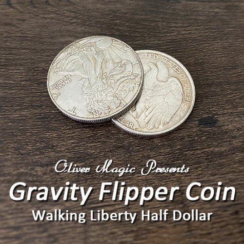 Gravity Flipper Coin (Walking Liberty Half Dollar) by Oliver Magic