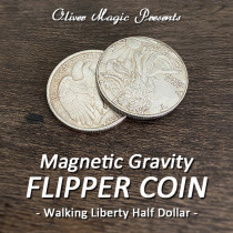 Magnetic Gravity Flipper Coin (Walking Liberty Half Dollar) by Oliver Magic