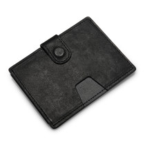 New Bring Handmade Slim Genuine Leather Sleeve Card Holder Minimalist Wallet for Men, Black