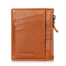 NEW-BRING Wallet for Men Leather Slim With Zipper Money Clip Front Pocket minimalist with Pull Tub And Coin Pocket, Brown