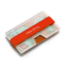 NewBring Compact Credit Card Holder Blue - Ultralight Acrylic Slim Wallet Money Clip, Red