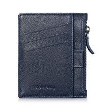 NEW-BRING Wallet for Men Leather Slim With Zipper Money Clip Front Pocket minimalist with Pull Tub And Coin Pocket, Blue
