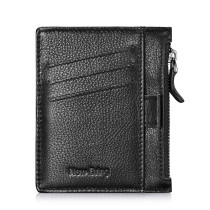 NEW-BRING Wallet for Men Leather Slim With Zipper Money Clip Front Pocket minimalist with Pull Tub And Coin Pocket, Black 2