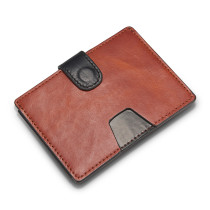 New Bring Handmade Slim Genuine Leather Sleeve Card Holder Minimalist Wallet for Men, Orange
