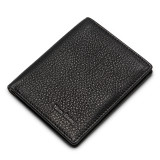NewBring Slim Leather Double Billfold Wallet for Men Front Pocket Handmade Minimalist Slimfold, Black