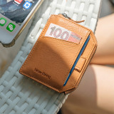NEW-BRING Wallet With Zipper for Men Leather Bifold Card Holder Wallet With Money Clip, Blue