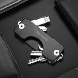 NewBring Aluminum Metallic EDC Key Wallets Men car Key Holder Smart Housekeeper New Design EDC Keys Organizer Keychain, Black