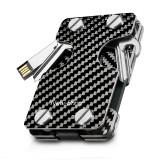NEW-BRING   Multifunction Metal Key Holder and Credit Card Money Clip Wallet, Carbon Fiber