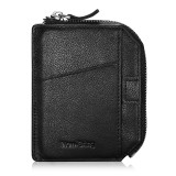 NEW-BRING Wallet With Zipper for Men Leather Bifold Card Holder Wallet With Money Clip, Black