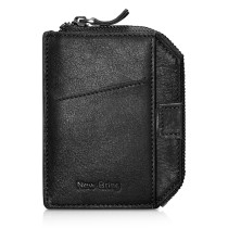 NEW-BRING Wallet With Zipper for Men Leather Bifold Card Holder Wallet With Money Clip, Bright Black