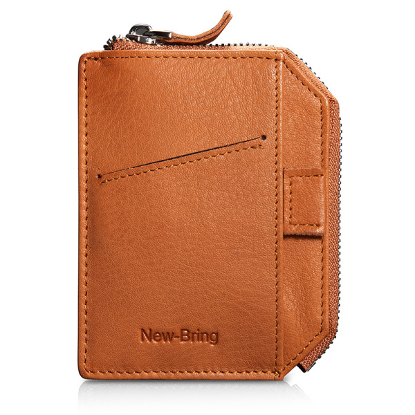 NEW-BRING Wallet With Zipper for Men Leather Bifold Card Holder Wallet With Money Clip, Orange