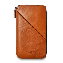 Mens Clutch Bag Leather Handbag With Zipper Organizer Checkbook Wallet Card Holder Bag, Orange
