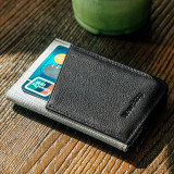 New-Bring Men's RFID Blocking Slim Leather Wallet Small Bifold Front Pocket Wallet Minimalist Credit Card Holder, Black