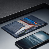 New-Bring Men's RFID Blocking Slim Leather Wallet Small Bifold Front Pocket Wallet Minimalist Credit Card Holder, Blue