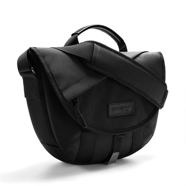 NewBring Crescent Half Moon Shoulder Bag Messenger Bag for Men and Women with Pockets and Zipper, Black