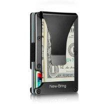 NewBring Slim Metal Credit Card Holder With RFID Anti-chief Travel Mini Wallet Man for rfid wallet, Black