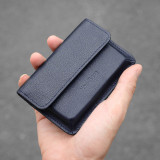 New-Bring Leather Business Card Holder Wallet for Men and Women Slim Minimalist Front Pocket Card Case (Black)