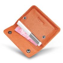 New-Bring Leather Business Card Holder Wallet for Men and Women Slim Minimalist Front Pocket Card Case (Orange)