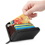 New-Bring RFID Blocking Slim Credit Card Holder Wallet Genuine Leather Multi Card Organizer Travel Wallet with Zipper, Blue
