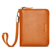 New-Bring Slim Leather Wallet for Men and Women with Zipple and Multiple Card Slots for Cards and Coins, Minimalist Style, Orange