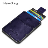 New-Bring Metal Wallet for Men Hold Card Leather Surface Slim RFID Blocking Minimalist Credit Card Holder, Blue