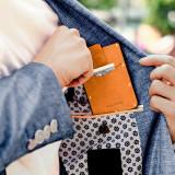 New-Bring Metal Wallet for Men Hold Card Leather Surface Slim RFID Blocking Minimalist Credit Card Holder, Orange