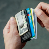 NewBring Minimalist Carbon Fiber Wallet RFID Blocking Card Holder with Money Clip Credit Card Case For Men and Women, Silver