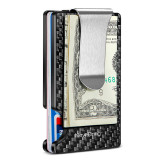 NewBring Minimalist Carbon Fiber Wallet RFID Blocking Card Holder with Money Clip Credit Card Case For Men and Women, Black