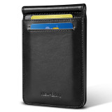 New-Bring Mens Leather Minimalist Wallet RFID Blocking Credit Card Holder Slim Bifold with Money Clip and ID Window Front Pocket, Black