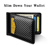 New-Bring Mens Leather Minimalist Wallet RFID Blocking Credit Card Holder Slim Bifold with Money Clip and ID Window Front Pocket, Carbon Fiber