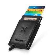 NewBring Auto Pop-Up Aluminium Credit Card Holder Metal RFID Blocking Leather Money Cash Coin Wallet, Black