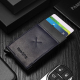 NewBring Auto Pop-Up Aluminium Credit Card Holder Metal RFID Blocking Leather Money Cash Coin Wallet, Black